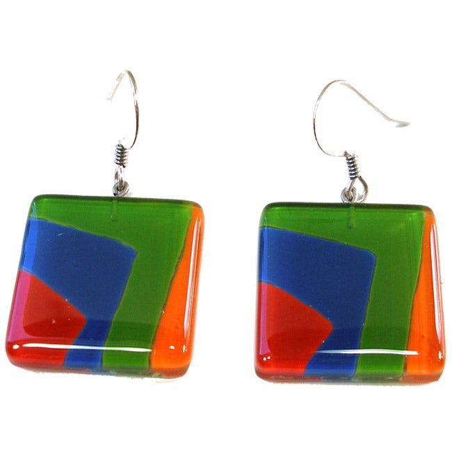 Square Fused Glass Multicolor Earrings (Chile)