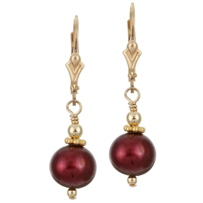 Lola X27 S Jewelry 14k Goldfill Cranberry Red Fw Pearl Earrings