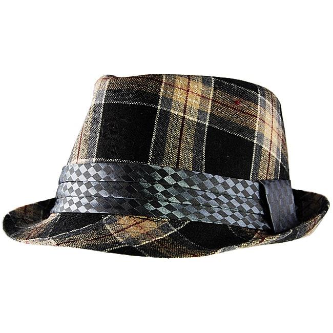 Yesac Unisex Tartan Plaid Fedora Hat