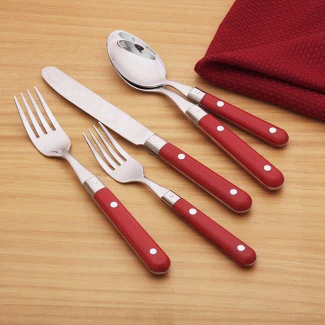 Ginkgo Le Prix Red Stainless Steel 20 Piece Flatware Set