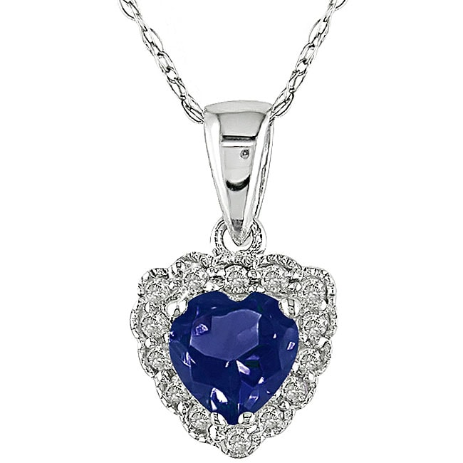 10k Gold Created Sapphire and Diamond Heart Necklace