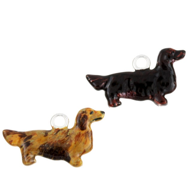 Best in Show Sterling Silver Enamel Long-haired Dachshund Dog Charm