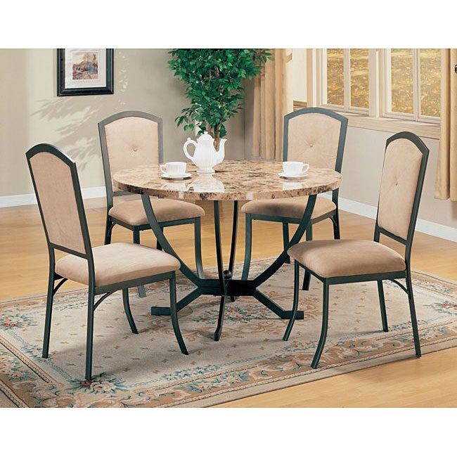 auburn faux marble top 5 piece dining room set free shipping today