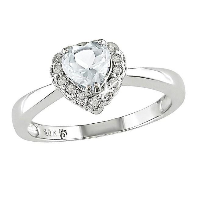 10k White Gold White Topaz and Diamond Heart-shaped Ring
