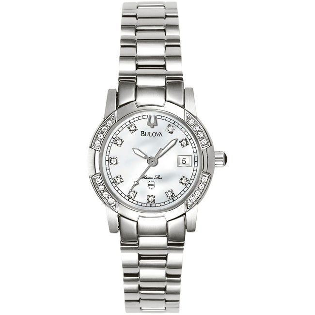 041f3f934ce Shop Bulova Marine Star Women s Diamond Bezel Watch - Free Shipping Today -  Overstock - 3938472
