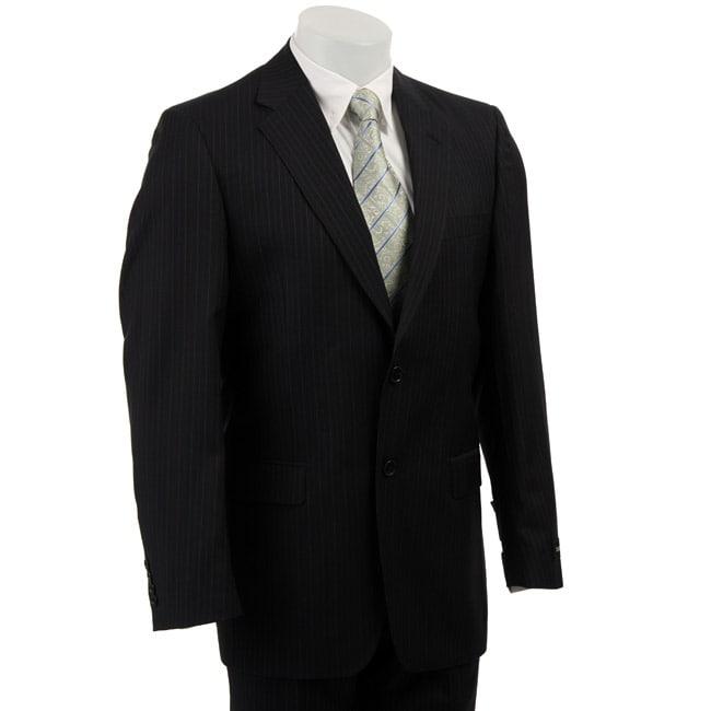 Claiborne Men's Navy Multistripe Wool 2-button Athletic Cut Suit