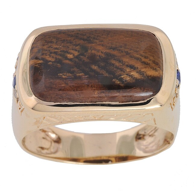 Michael Valitutti 14k Gold Petrified Wood and Diamond Men's Ring