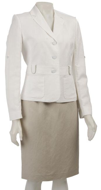Shop Calvin Klein Women S Linen Skirt Suit Free Shipping Today