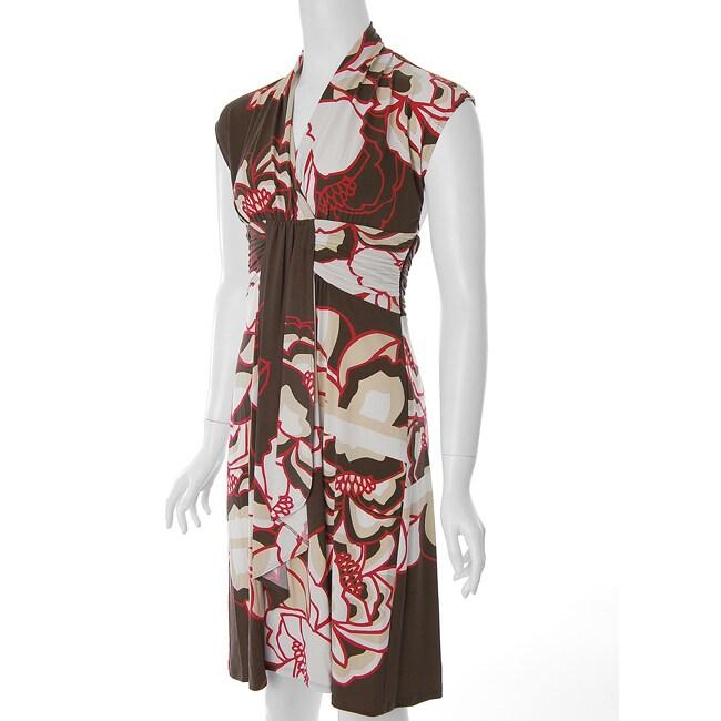 Sangria Womens Floral Print V neck Dress
