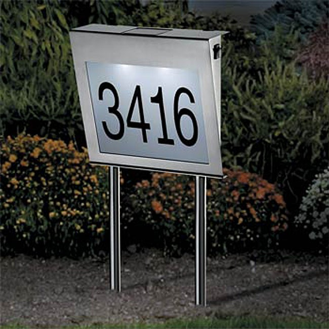 stainless steel solar powered house number light free shipping on orders over 45 overstock. Black Bedroom Furniture Sets. Home Design Ideas