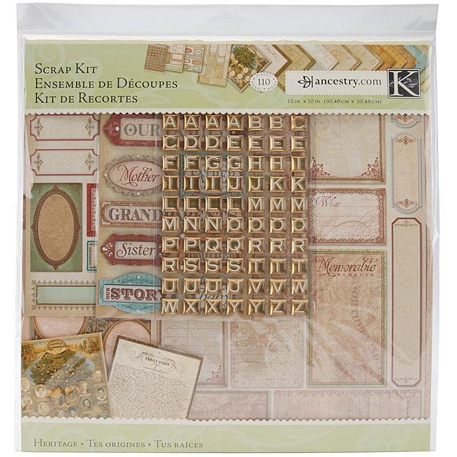 K & Company/ Ancestry.com 12x12 Heritage Scrap Kit
