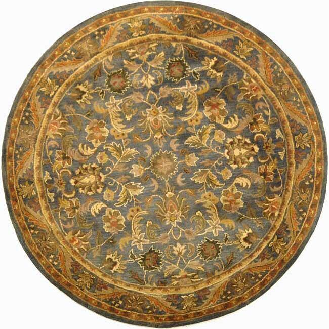 Safavieh Handmade Exquisite Blue/ Gold Wool Rug - 8' x 8' Round
