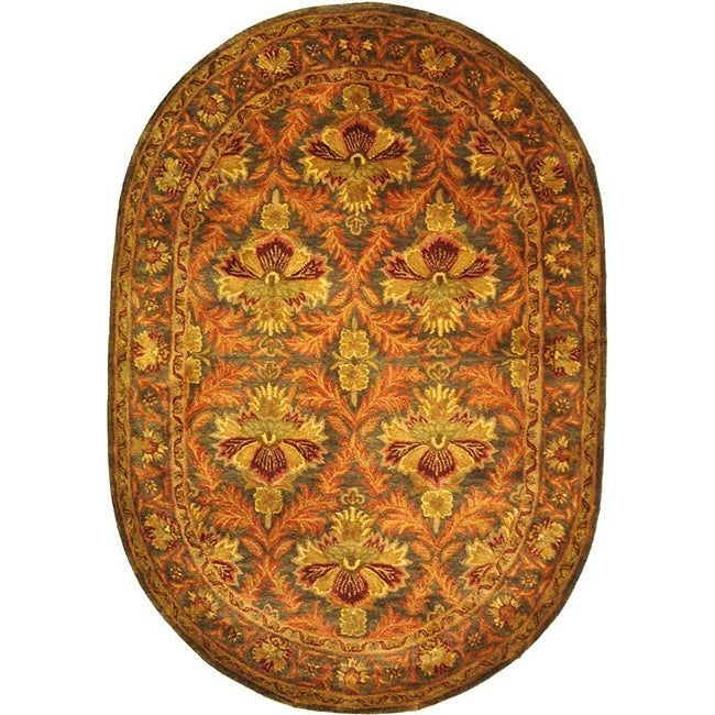 "Safavieh Handmade Kerman Sage/ Gold Wool Rug - 4'6"" x 6'6"" oval"