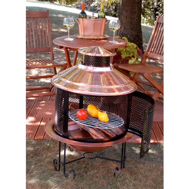 Solid Copper Chiminea And Screen Free Shipping Today