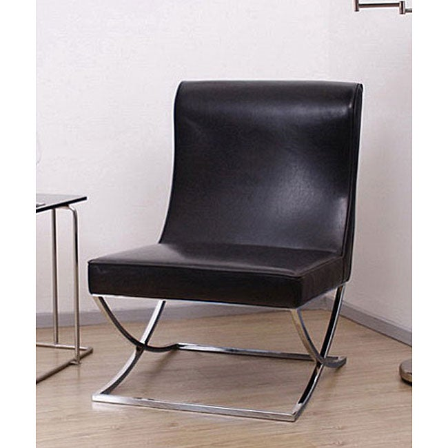 Lovely Milano Black Leather Lounger Chair