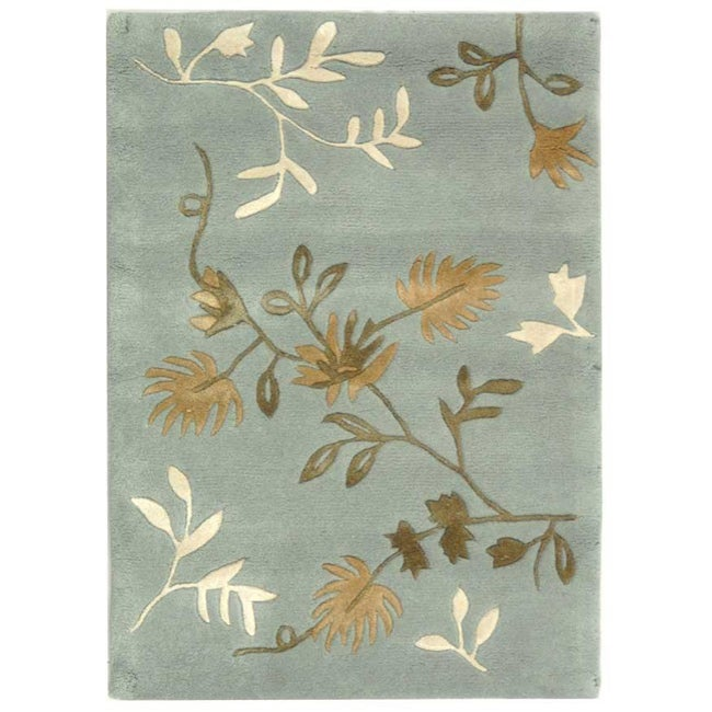 Safavieh Handmade Soho Twigs Light Blue New Zealand Wool Rug (2' x 3')