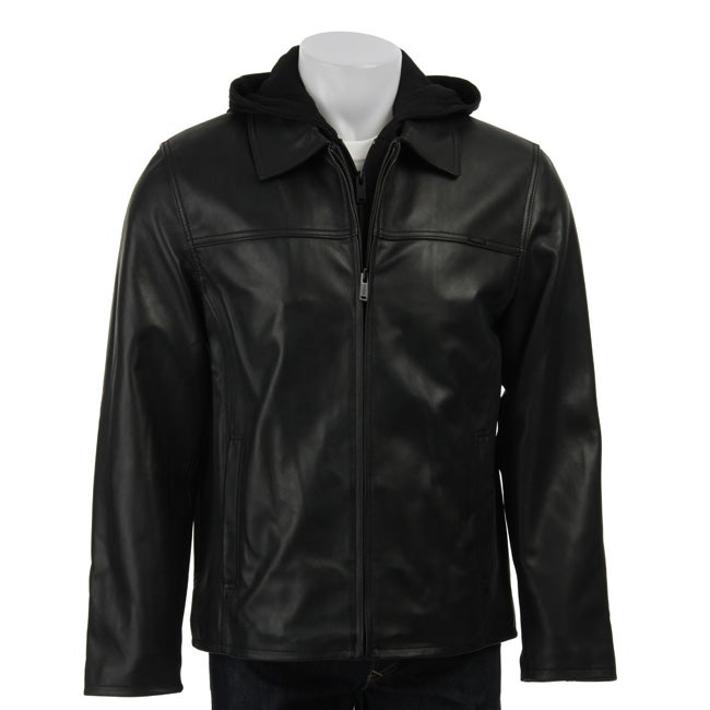 Guess Men S Black Leather Hooded Jacket Free Shipping
