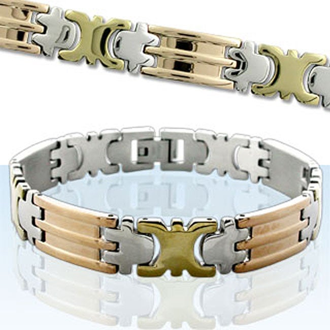 Tri-tone Stainless Steel Bracelet