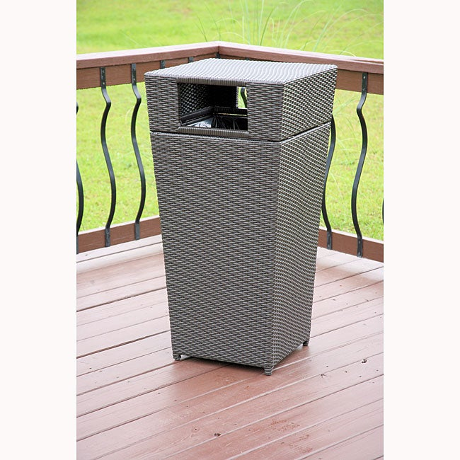 All Weather PE Resin Wicker Trash Can