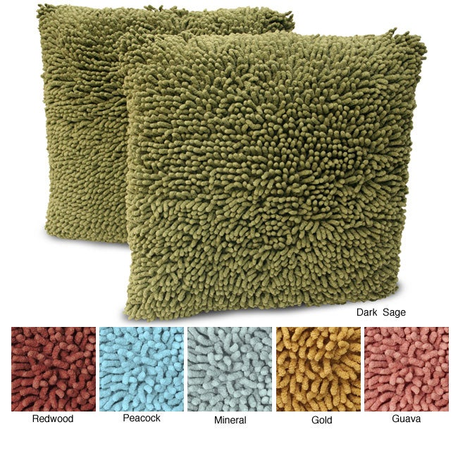 Magic Makeover Shag 2-piece Square Decorative Pillow Set