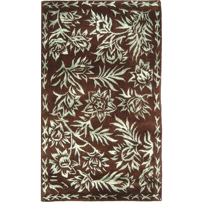 Safavieh Resorts Chocolate/ Aqua Blue Rug (2'6 x 4'2)