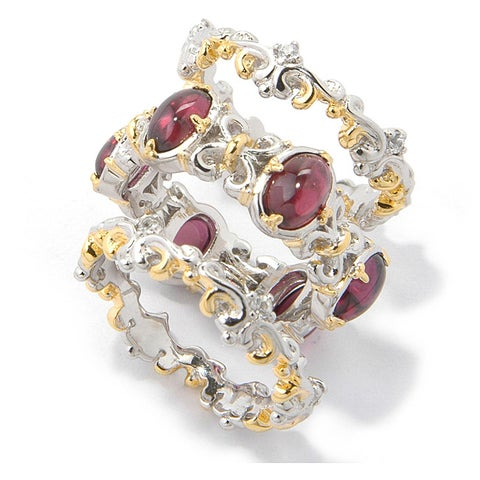 Michael Valitutti Palladium Silver Natural Garnet/ Sapphire Ring