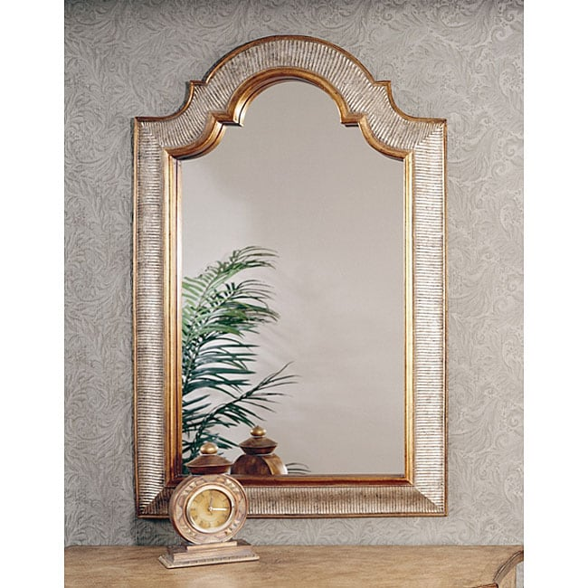Shop Silver And Gold Arched Top Mirror Free Shipping