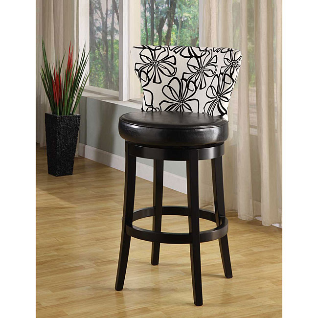 Savvy Black and White Swivel Barstool