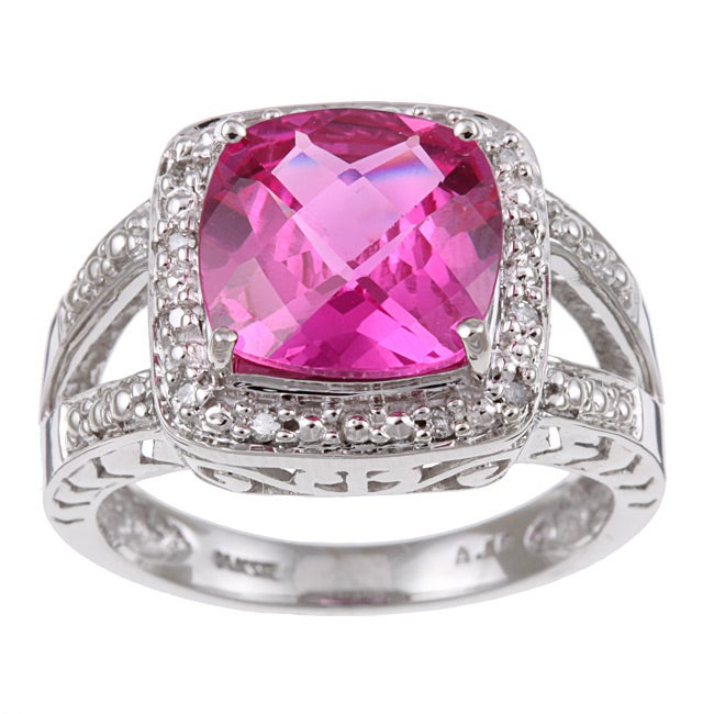 14k White Gold Created Pink Sapphire and Diamond Ring (Size 7)