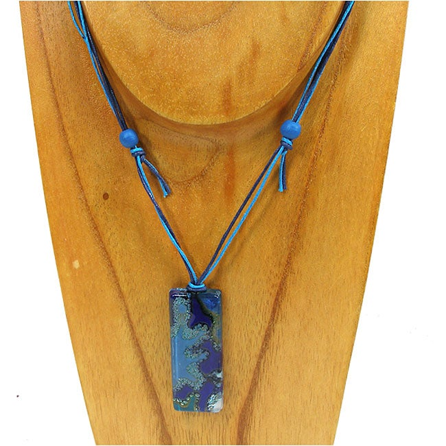 Fused Glass Blue Ice Rectangle Necklace (Chile)