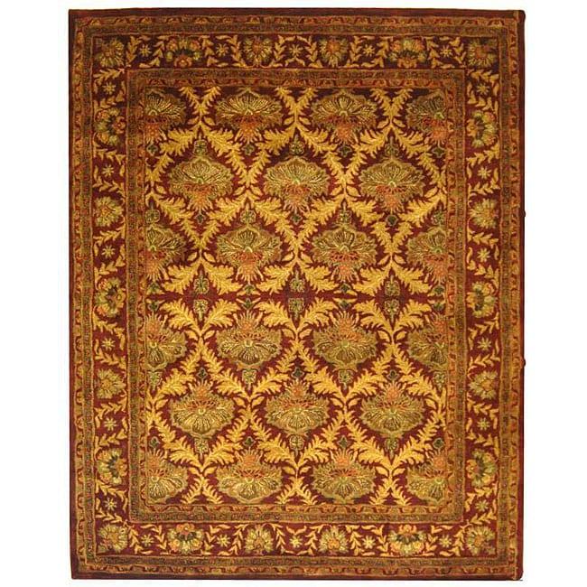 Safavieh Handmade Kerman Wine/ Gold Wool Rug - 9'6 x 13'6