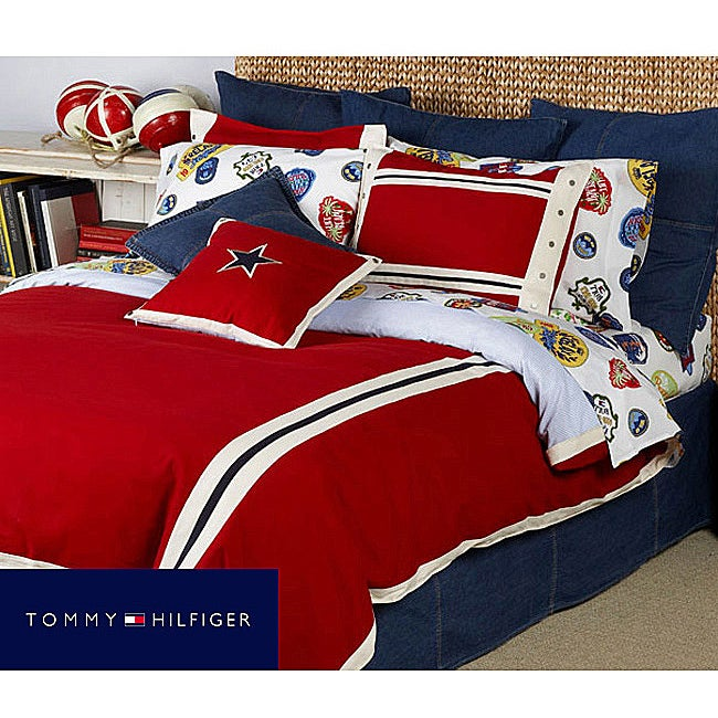 Tommy hilfiger american classics red comforter set free shipping today 12017322 for Tommy hilfiger bedroom furniture