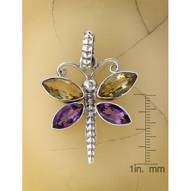 Silver Amethyst and Citrine Dragonfly Pendant (India)