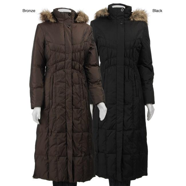 Shop Anne Klein Women S Faux Fur Trim Hood Long Down Coat