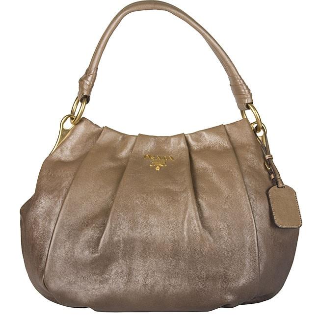 Prada 'Glace Mordore' Brown Hobo Bag