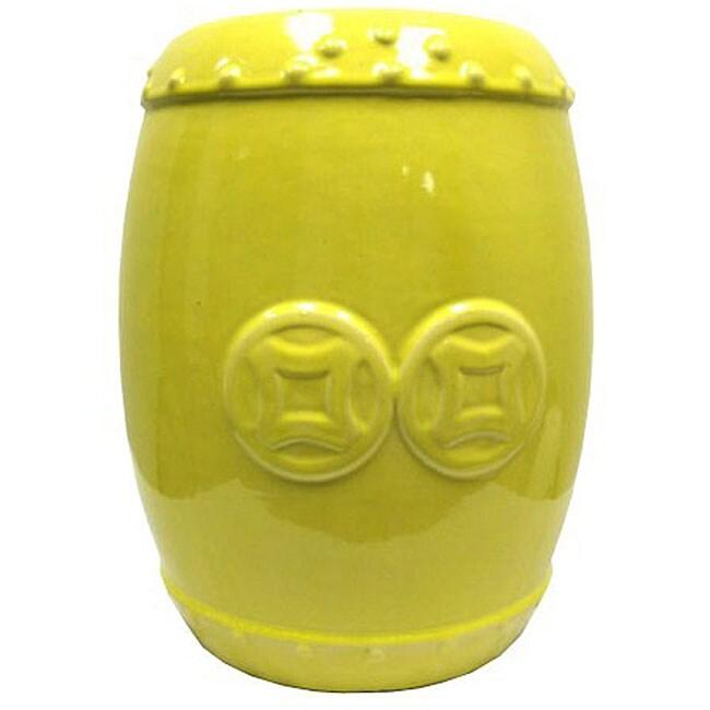 Double Coin Yellow Ceramic Garden Stool Free Shipping