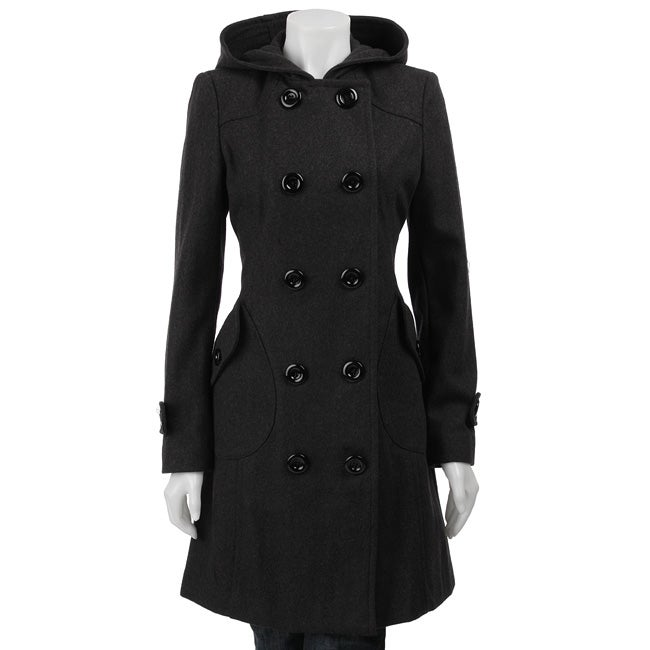J Lo Women's 3/4-length Hooded Wool Coat