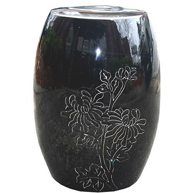 Floral Round Black Ceramic Garden Stool Free Shipping