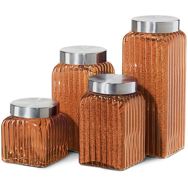 orange glass 4-piece canister set with airtight lids - free shipping today - overstock