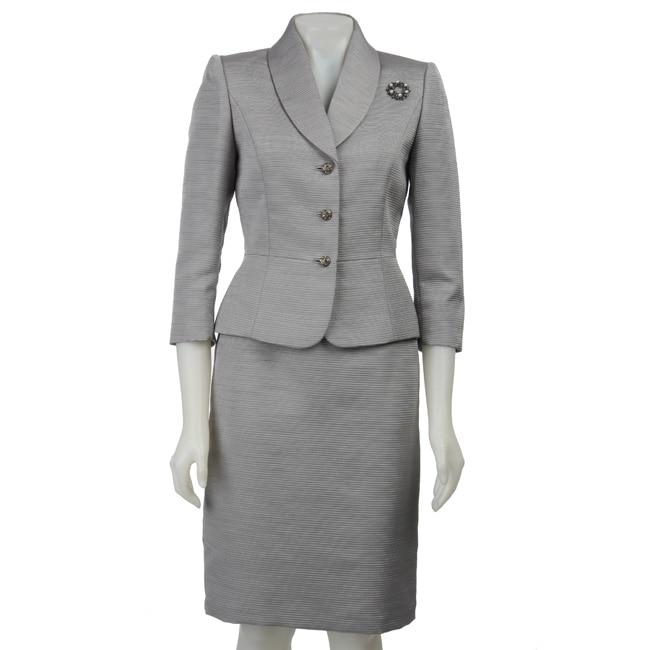Tahari ASL Women's Silver Textured Skirt Suit