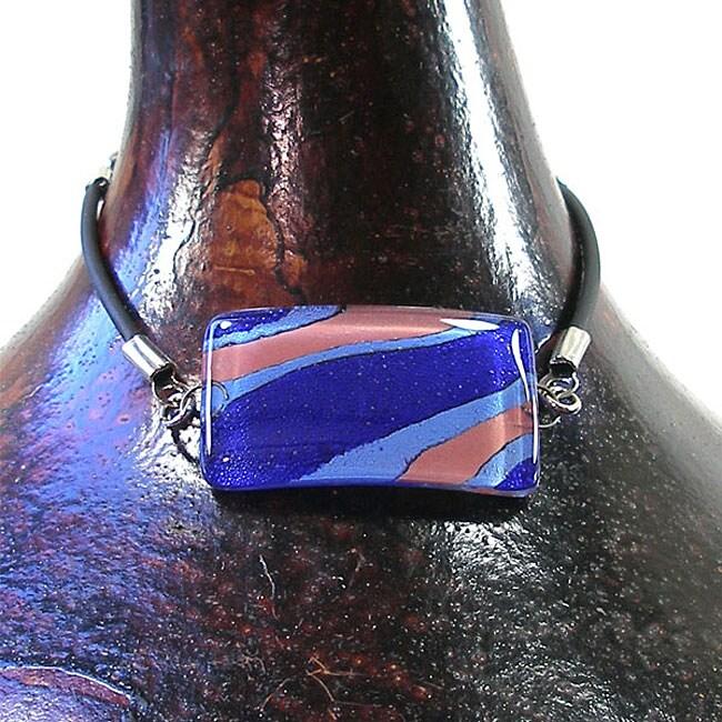 Glass Abstract Blue Stripes Rectangular Bracelet (Chile)