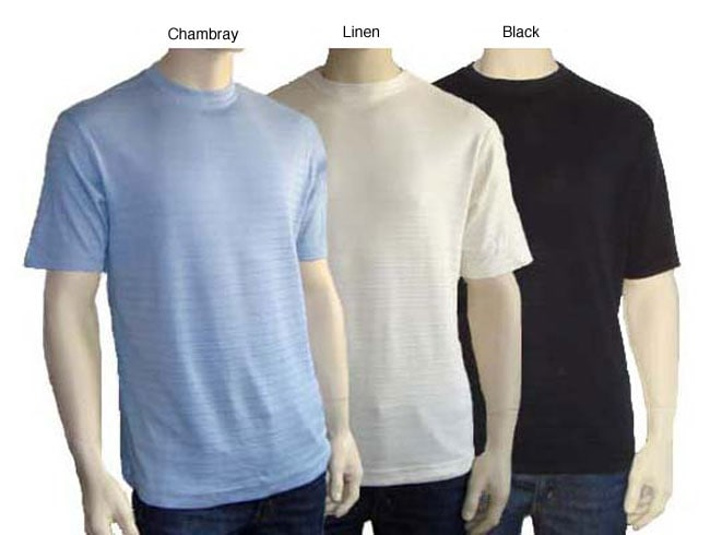 Anthology men 39 s silk cotton short sleeve crewneck tee for Cotton silk tee shirts