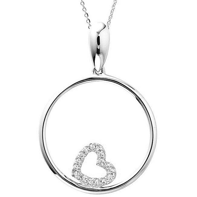 14k White Gold Diamond Heart-in-Circle Necklace