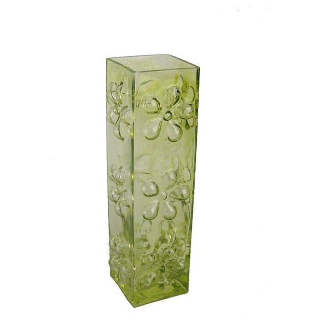 Shop Tall Lime Green Daisy Glass Vase Free Shipping On Orders Over