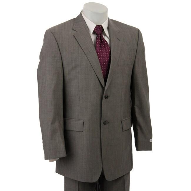 Calvin Klein Men's Grey Sharkskin Wool 2-button Suit