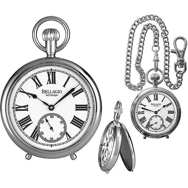 Bellagio Men's Classic Silvertone Mechanical Pocket Watch