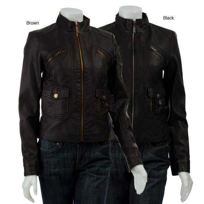45162f5d6857e Shop Miss Sixty Women's Faux Leather Motorcycle Jacket - Free Shipping  Today - Overstock - 4013526