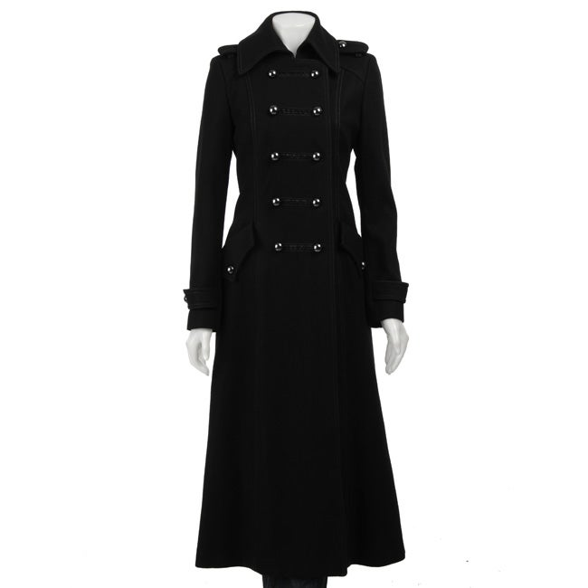 JLo Women's Black Long Military Wool Coat - Free Shipping Today