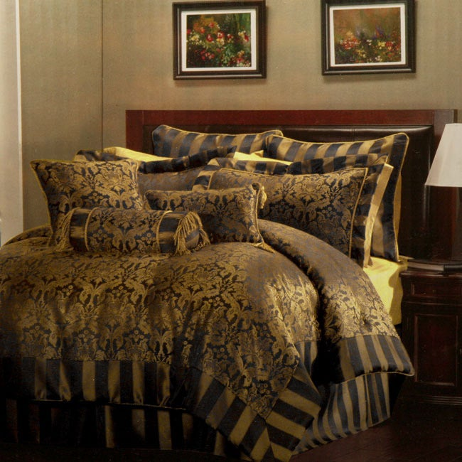 Allison Black/ Gold 9-piece Comforter Set - Thumbnail 0
