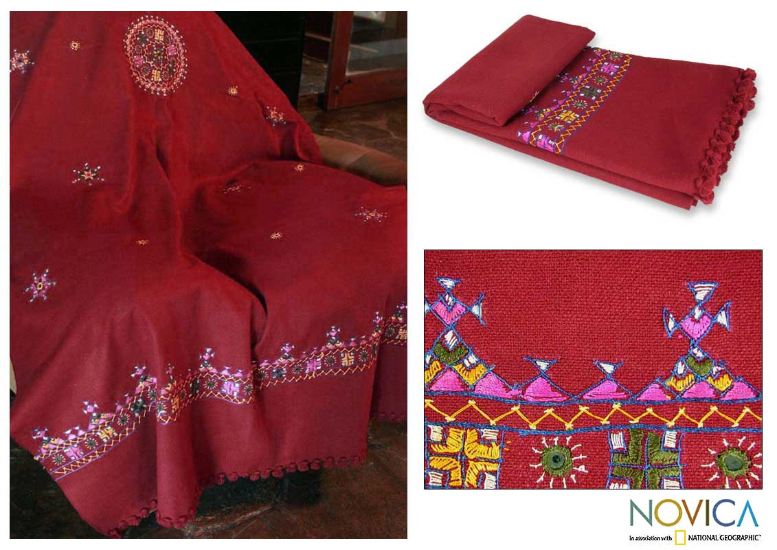 Wine Red 'Celebration of Life' Throw Blanket (India)